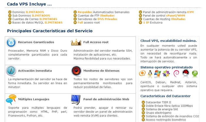 VPS detalles información detallada sobre VPS